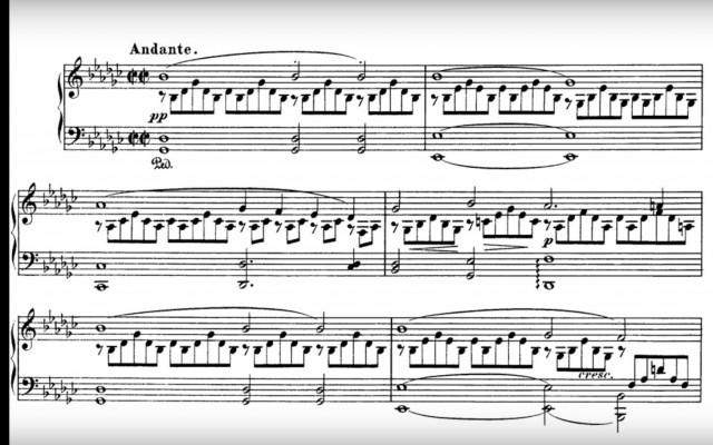 Deel uit de partituur van Impromptu no. 3 Op. 90