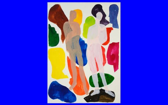 Peter van de Akker - colored people heads and bodies, papier