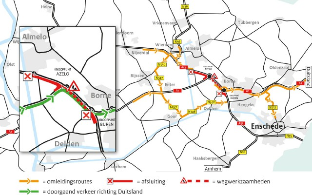 Omleidingsroutes werkzaamheden A35 weekend 1