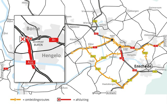 Omleidingsroutes werkzaamheden A35 weekend 2