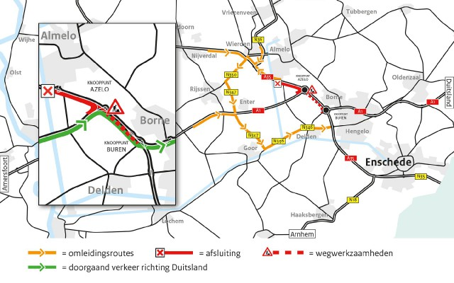 Omleidingsroutes werkzaamheden A35 weekend 3